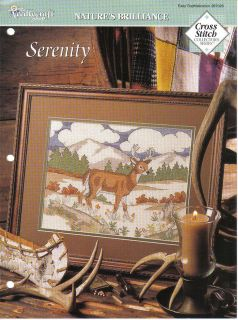 Serenity Deer Landscape Mountain Cross Stitch Pattern