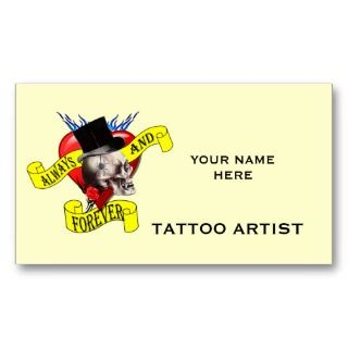 Skull & heart tattoo design business card templates