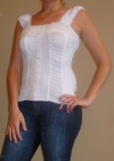 New Finesse White Lacey Corset Style Tank Top Sz s M L