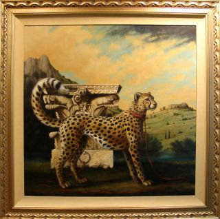 Richard Lane Untitled Leopard Oil Painting Hand Signed Fine Art SUBMIT