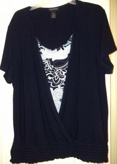 Lane Bryant Black Stretch Knit Short Sleeve with Pretty Floral Inset