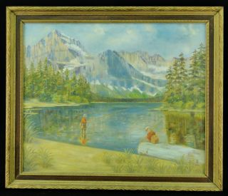 American O C Man Son Fly Fishing Mountains Landscape Painting