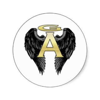 Gabriel Angel Design Wings Logo Round Stickers