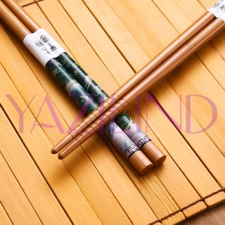 Pairs Set Landscape Painting Classic Retro Bamboo Cutlery Chopsticks