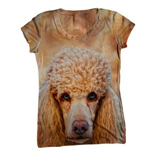 AnimalShirtsUSA Womens Top Ladies T Shirt Poodle Face