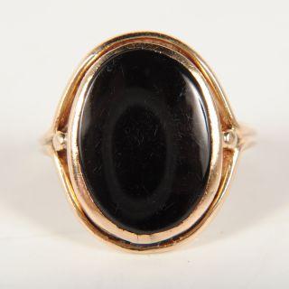 Ladies 14k Yellow Gold Large Black Onyx Ring Size 5 75 2 4DWT
