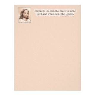 Sepia Jesus Art Bible Quote   Jeremiah 17:7 Letterhead Design