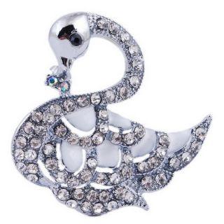 Unique Swan Pretty Alloy Gift Ladies Brooch Pin Crystal Rhinestone