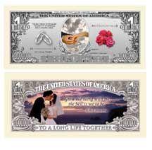 Wedding Million Dollar Bills 5 $2 50