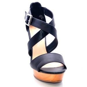 Blossome Criss Cross Open Toe Wedge Black Lakers 5