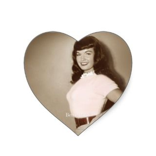 Bettie Page Vintage Pinup in Cute Pink Sweater Heart Stickers