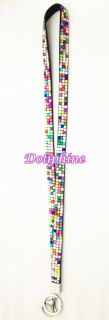 18 Drop Bling Crystal Necklace Lanyards Keychain Key ID Holder