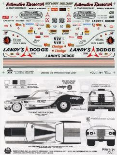 Dick Landy Dodge Double Sheet NHRA Drag Decals 1184
