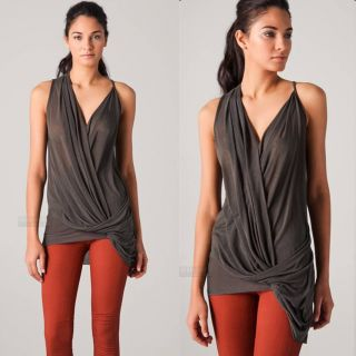 New Helmut Lang 160$ Threadbare Crossover Draped Top Tank Shirt Tunic
