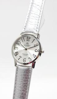 Unisex Mondex Classic Silver Watch Large Round Leather Strap Retro