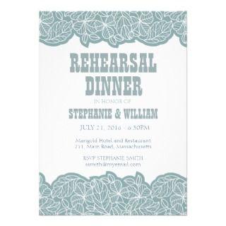 Tarjeta floral azul de la cena del ensayo anuncios de