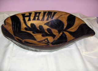 Vintage Large Hand Carved Wooden Salad Fruit Bowl Decor Haiti Nice