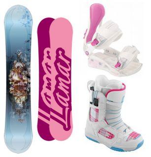 Lamar Foxie 154 Women Snowboard Bindings DC Siloh Quick Lace Boots New