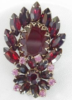 Vintage Large Red Plastic Stone Pin Brooch