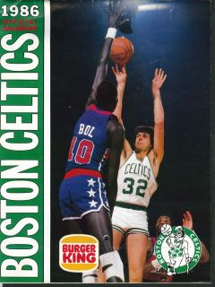 Celtics 1986 Official Calendar Burger King Coupons Schedule Larry Bird