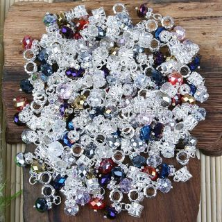 100p Mix Color Crystal Big Hole Bead Fit Charm Bracelet