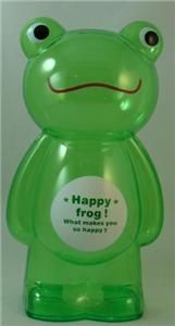 Large Clear Plastic Green Frog Kids Piggy Coin Bank