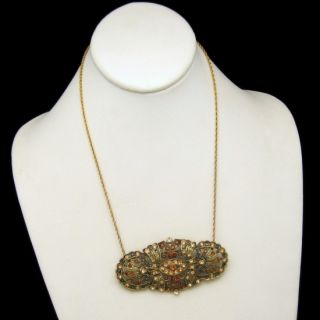 Vintage Necklace Large Filigree Brooch Pin Pendant Topaz Rhinestones