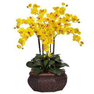 Large 30 Artificial Silk Fake Yellow Orchid Flower Arrangement w Vase