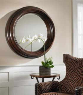 Large Round Wood Beveled Wall Mirror Porthole Style Circular Wooden