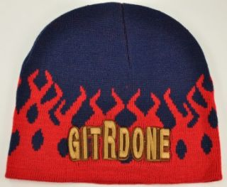 New Git R DONE Larry The Cable Guy Beanie Knit Cap Skull Flame WN Navy