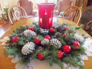 Candle Holder Lighted Floral Arrangement Christmas Extra Large