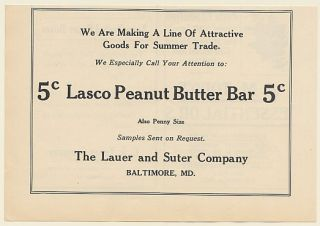 1923 Lasco Peanut Butter Bar The Lauer and Suter Company Candy Trade
