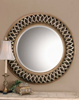 Large 45 Entwined Round Beveled Wall Mirror Open Fret Silver & Gold