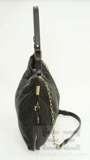 Lanvin Black Creased Lambskin Leather Amalia Bucket Bag New