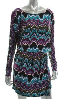 Laundry by Design Purple Matte Jersey Printed Blouson Wear to Work