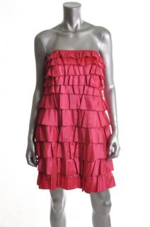 Laundry by Design New Pink Satin Strapless Tiered Lined Cocktail Dress