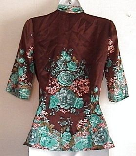 Plenty Tracy Reese Brown Silk Floral V Neck Shirt Sz 2 New