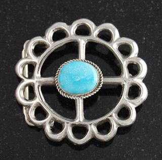 Lauren Begay Sterling Silver Turquoise Belt Buckle Navajo Native