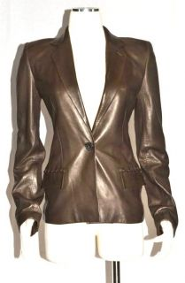 Yves Saint Laurent YSL Chocolate Brown Leather Button Blazer Coat