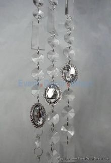 6ft Large Acrylic Crystal Strand w Silver Pendants Wedding Decoration
