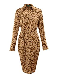 Lauren by Ralph Lauren Ristea leopard print shirt dress Khaki