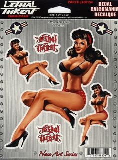 Nose Art 50s Polka Dot Panties Girl 5 Sticker Decal Set Art by Lethal