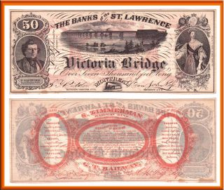 1857 50 Banks of the St. Lawrence Victoria Bridge Montreal Advertising