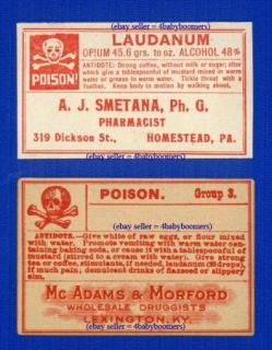 Old Laudanum Poison Opium Antique Drugstore Narcotic Medicine Bottle