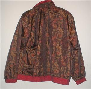 Womens Lavon Maroon and Gold Paisley Print Zip Front Jacket Size Large
