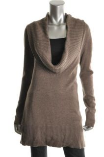Laurie B New Brown Ribbed Trim Cowl Neck Long Sleeves Pullover Sweater