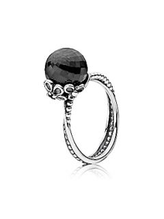 Pandora Black Spinel and Grey Crystal Ring Silver