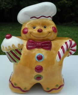 Ceramic Cookie Jar Laurie Gates Gingerbread Man Cookies Christmas