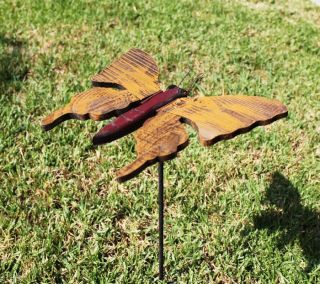 Wooden Butterfly Garden Stakes Lawn Ornaments Various Colors