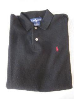 Ralph Lauren Mens Size L Large Black Cashmere Collar Polo Shirt